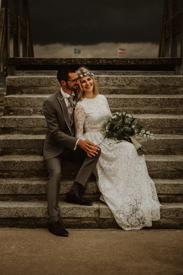 Nach der Hochzeit Fotoshooting am Strand in Stein