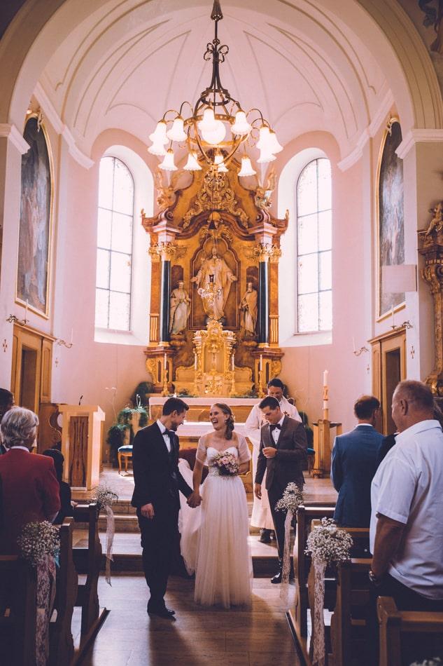 Trauung in der Kirche St Josef Schlatt in Appenzell, Schweiz