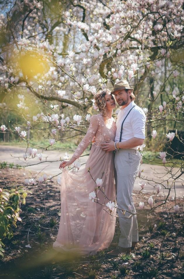 Boho Hochzeitsfotoshooting mit Kirschbluten in Lübeck