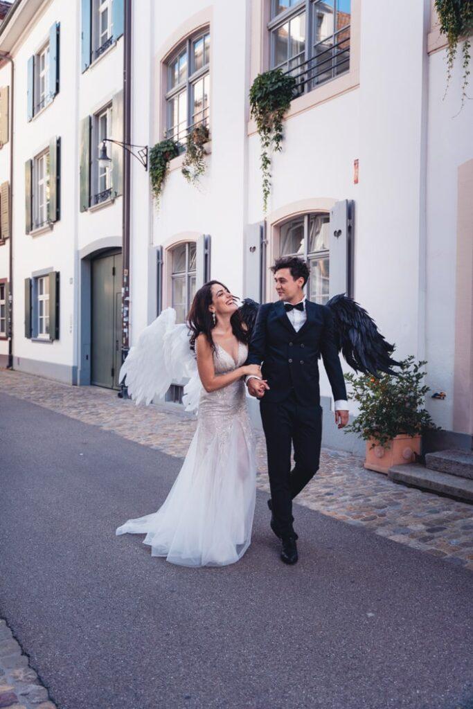 Brautpaar während Hochzeitsfotoshooting in Basel, Schweiz